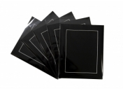 Pack of 5 Black Photo Mounts, Back & Bag